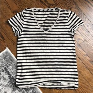 J. Crew black & offwhite striped top